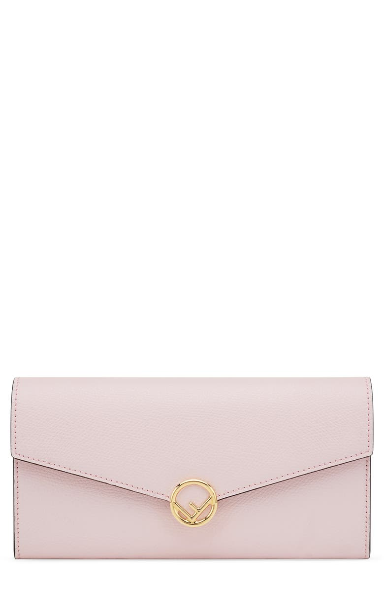 FENDI Logo Calfskin Leather Continental Wallet on a Chain, Main, color, PEONIA/ ORO SOFT