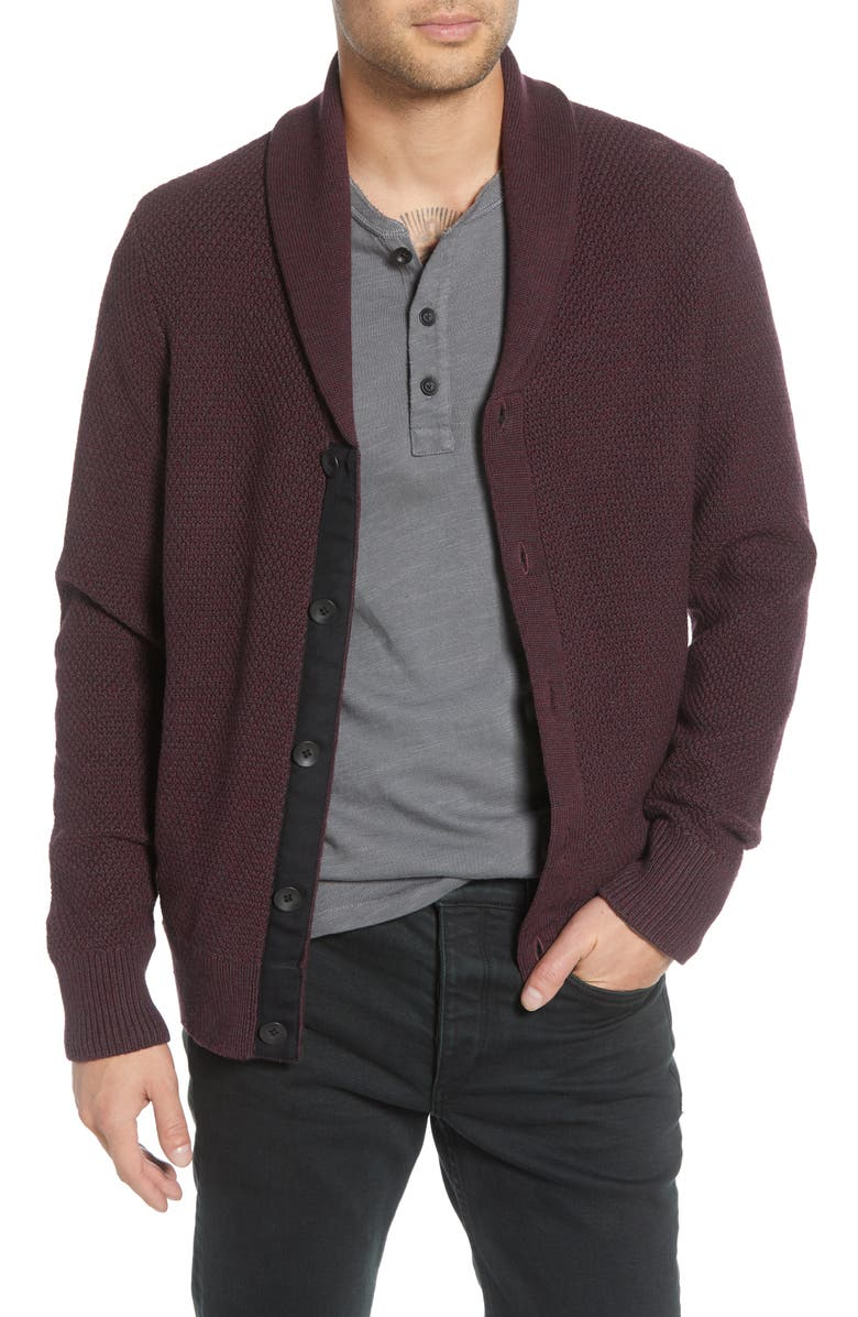 RAG & BONE Cardiff Classic Fit Wool Blend Cardigan Sweater, Main, color, BURGUNDY