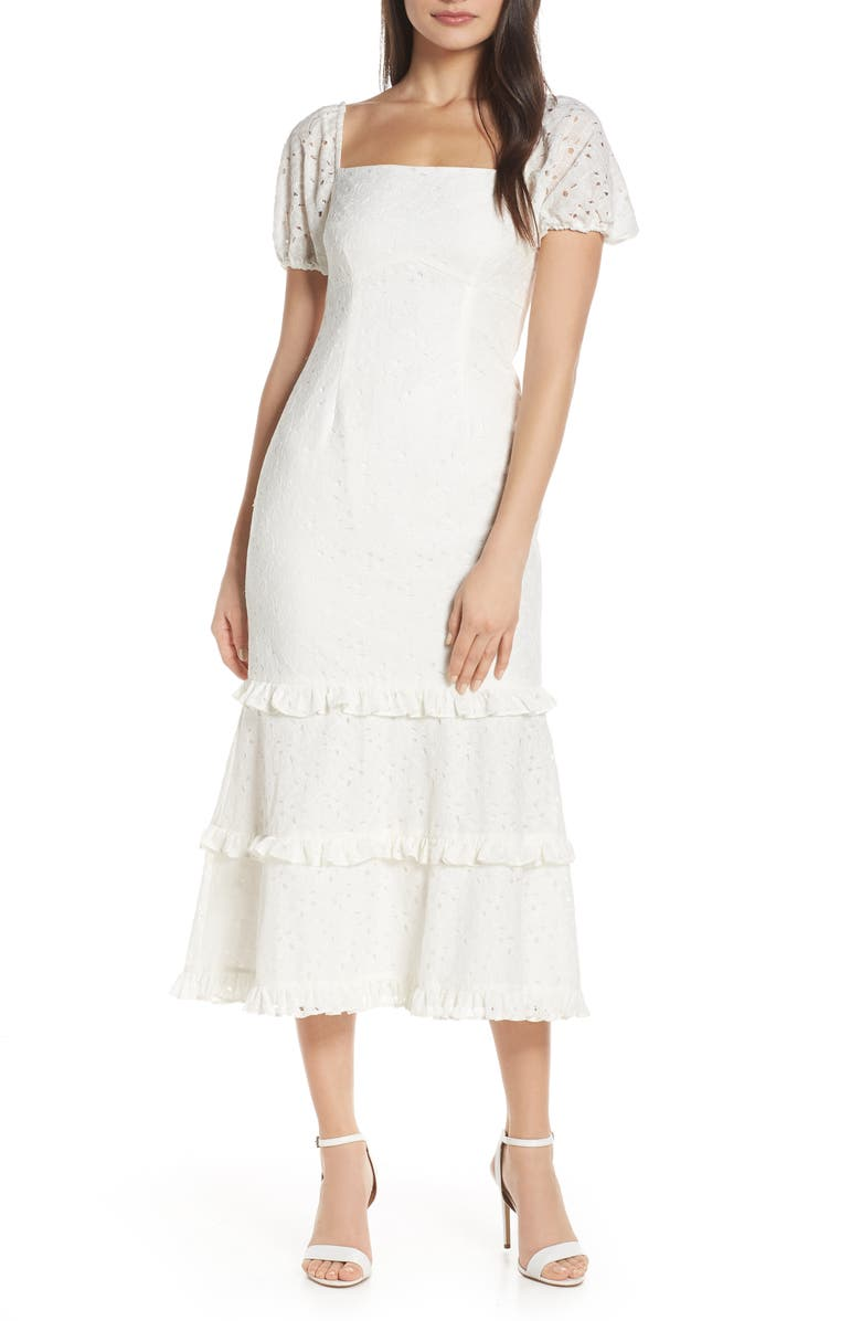 KEEPSAKE THE LABEL Higher Lace Midi Dress, Main, color, IVORY