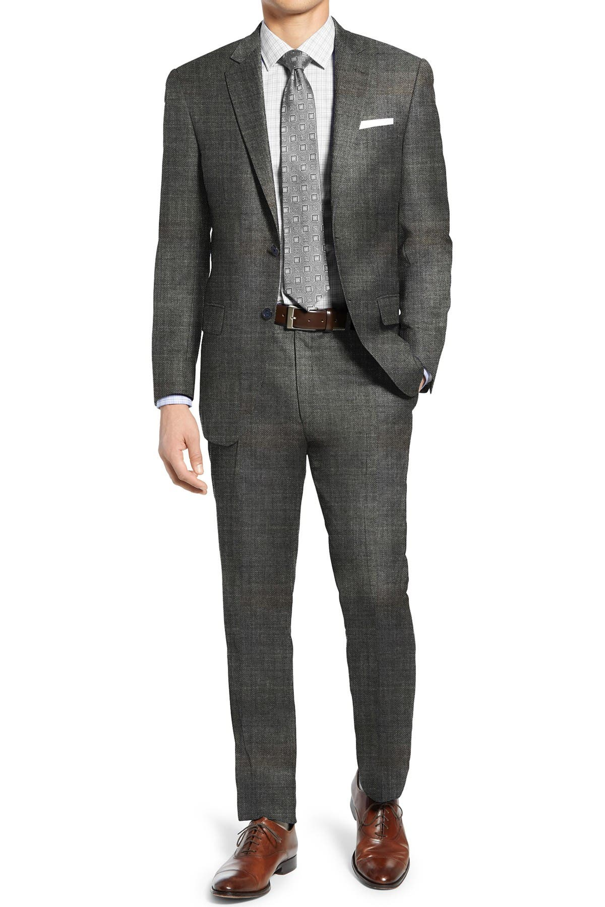 Image of Hart Schaffner Marx Grey Sharkskin Two Button Notch Lapel New York Fit Suit