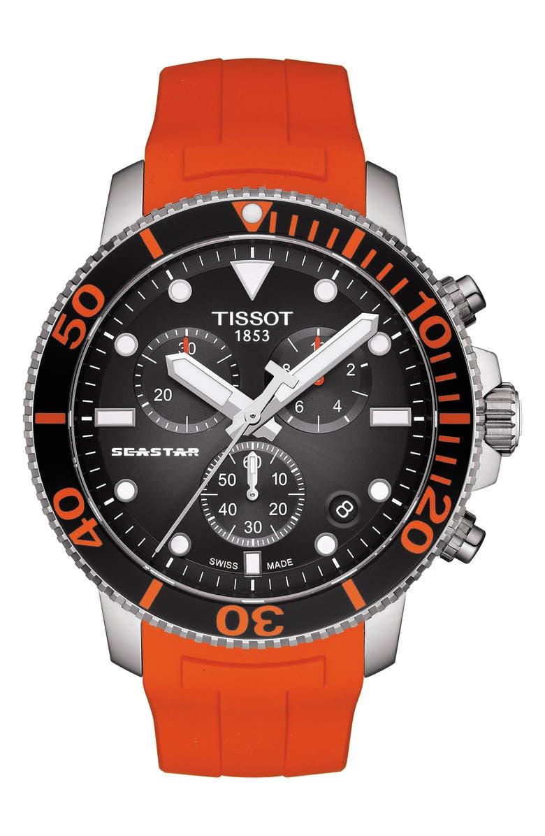 TISSOT T-Sport Seastar 1000 Rubber Strap Chronograph, 45mm, Main, color, ORANGE/ BLACK/ SILVER