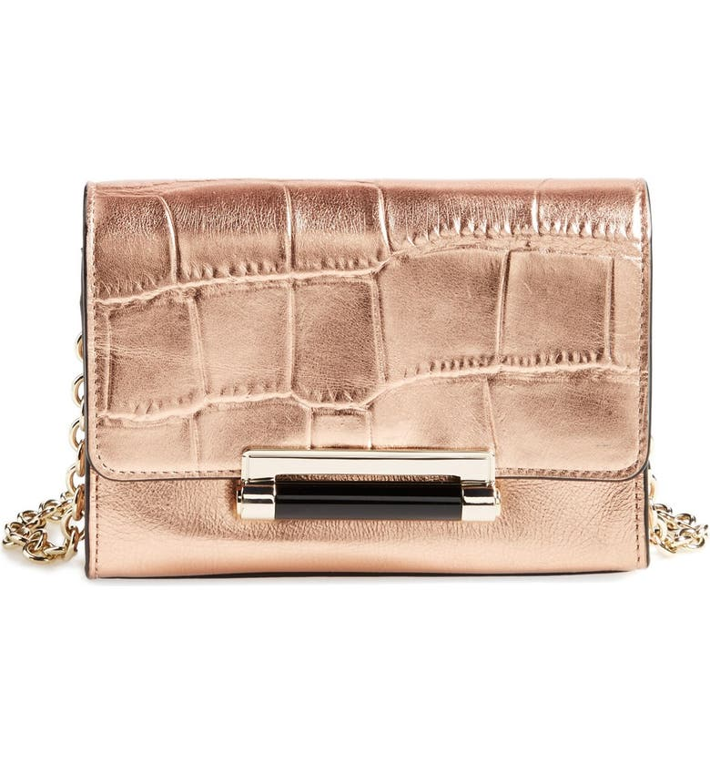 DIANE VON FURSTENBERG 'Micro Mini 440' Croc Embossed Metallic Leather Crossbody Bag, Main, color, 711