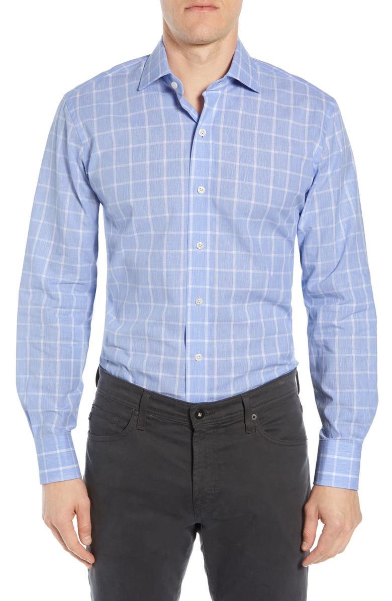 LEDBURY Mapelton Tailored Fit Cotton & Linen Windowpane Dress Shirt, Main, color, BLUE