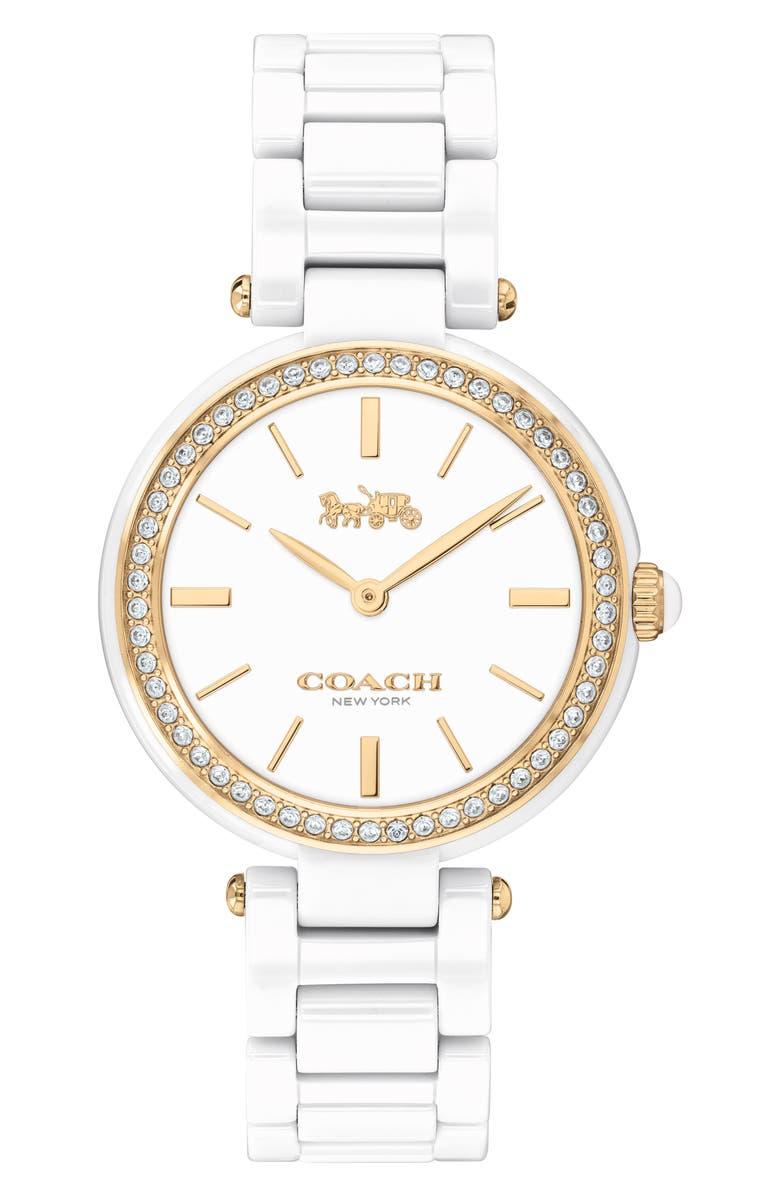 COACH Park Ceramic Bracelet Watch, 30mm, Main, color, WHITE/ SILVER/ GOLD
