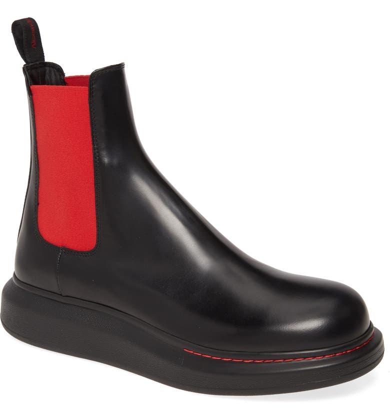 ALEXANDER MCQUEEN Platform Chelsea Boot, Main, color, BLACK/ RED/ BLACK
