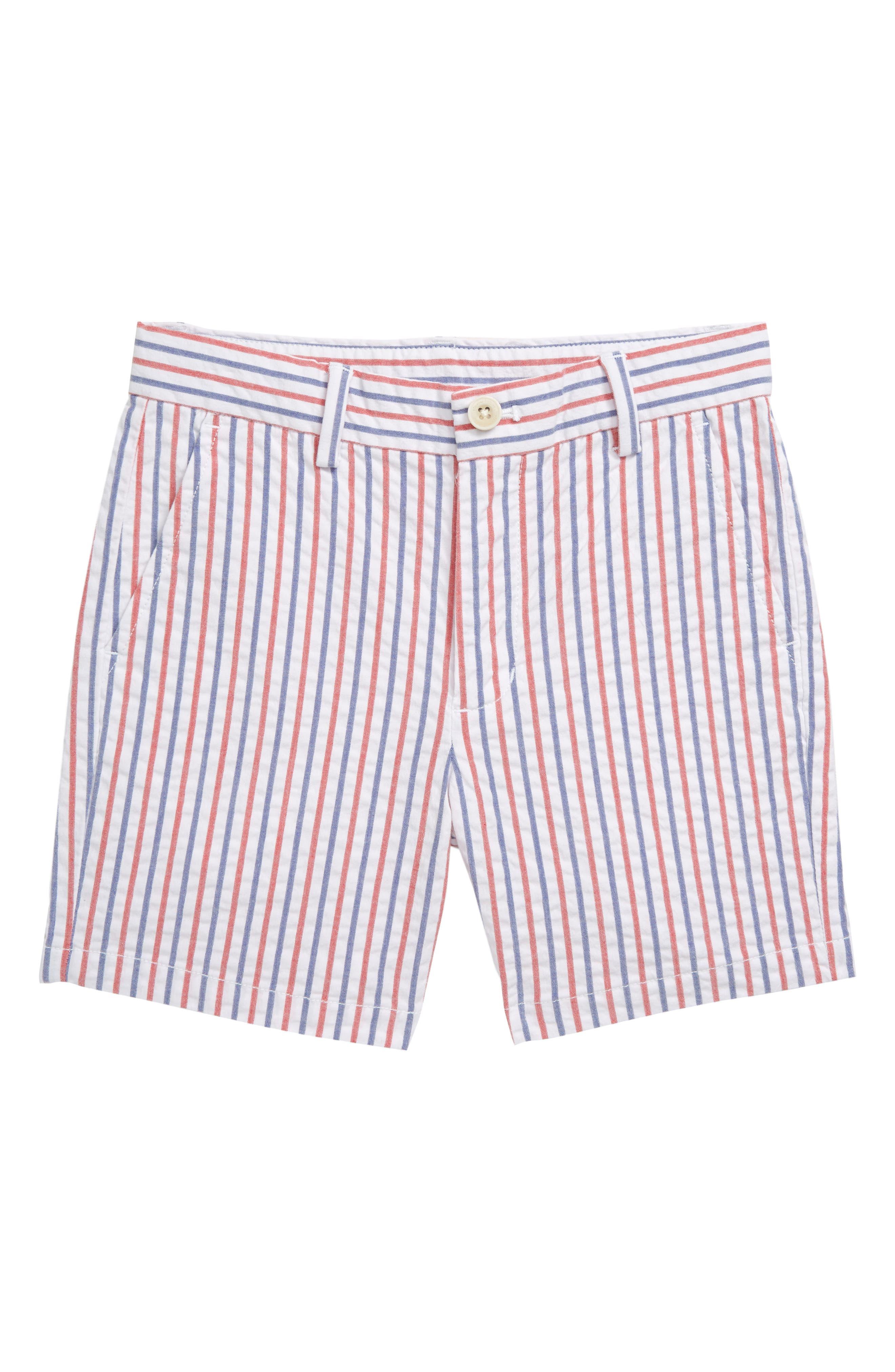 Toddler Boys Vineyard Vines Firework Stripe Seersucker Breaker Shorts Size 3T  Red