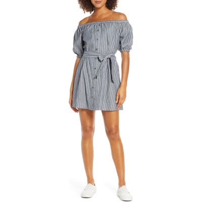 Bb Dakota Off The Shoulder Stripe Minidress, Blue