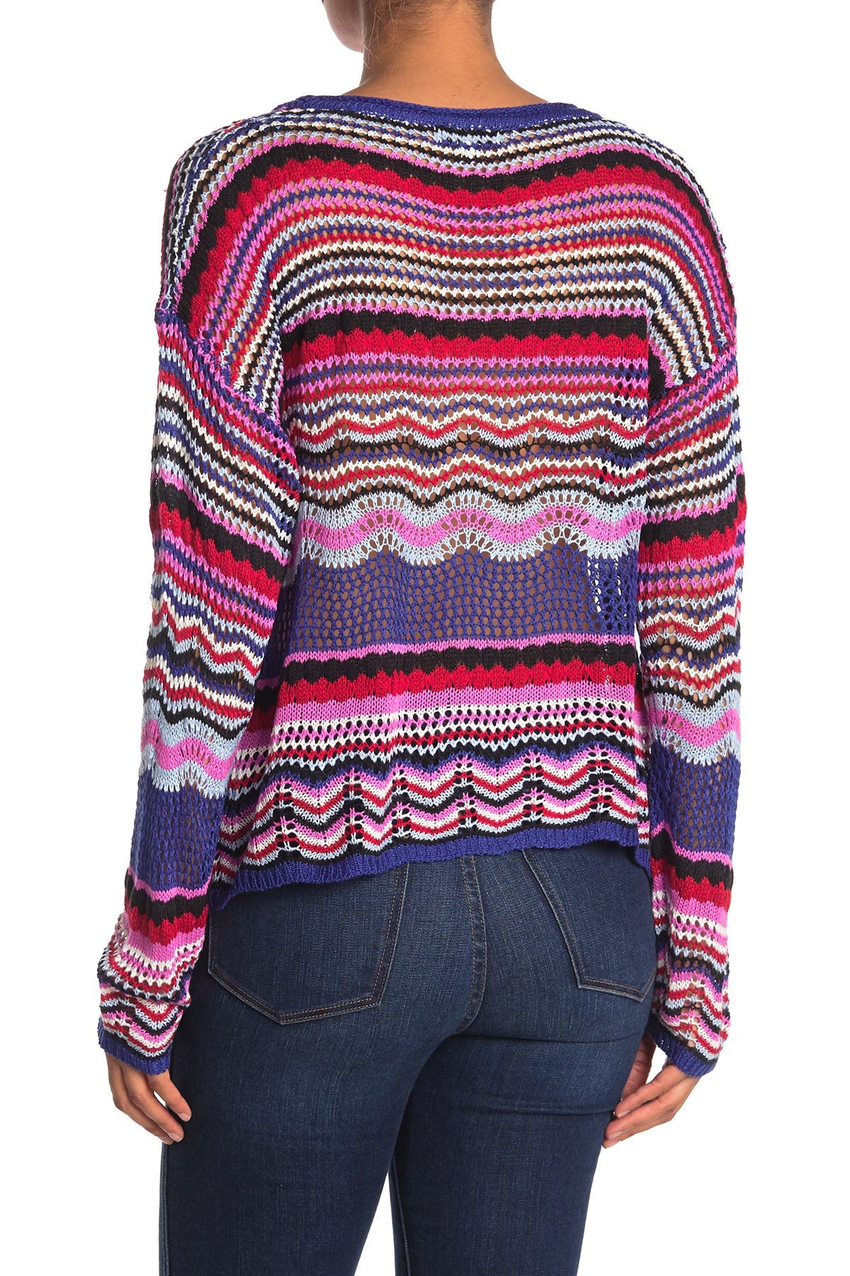 Image of Woven Heart Long Sleeve Multi Striped Sweater