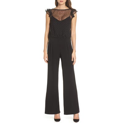 Julia Jordan Illusion Neck Wide Leg Jumpsuit, Black