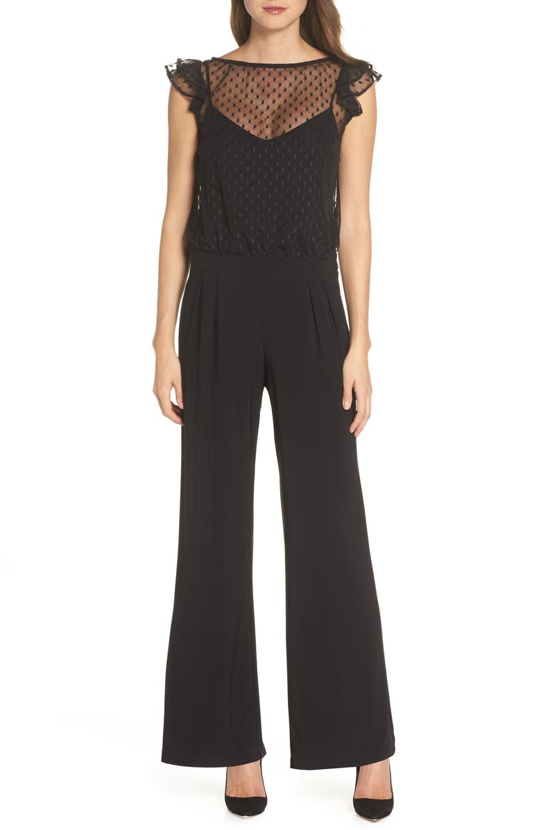 JULIA JORDAN Illusion Neck Wide Leg Jumpsuit, Main, color, BLACK