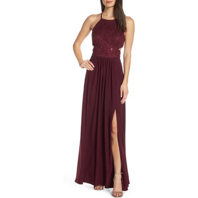 Morgan & Co. Strappy Back Sequin Lace Evening Dress, Burgundy