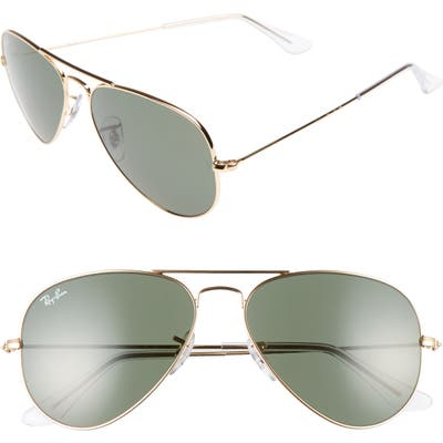 Ray-Ban Small Original 55Mm Aviator Sunglasses - Gold/green