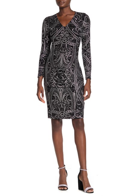 Image of Marina Glitter Long Sleeve Sheath Dress
