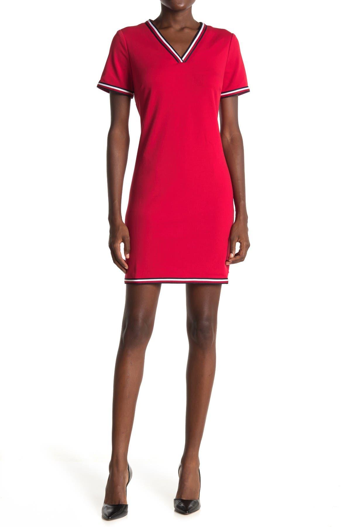 Image of Tommy Hilfiger Global Stripe V-Neck Mini Dress