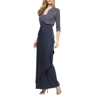 Alex Evenings Draped Column Gown With Bolero Jacket, Grey