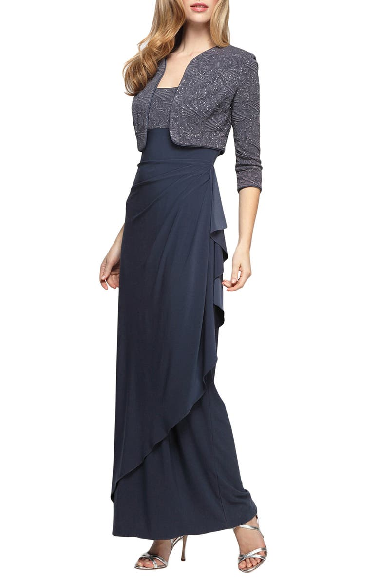 ALEX EVENINGS Draped Gown with Bolero, Main, color, SMOKE