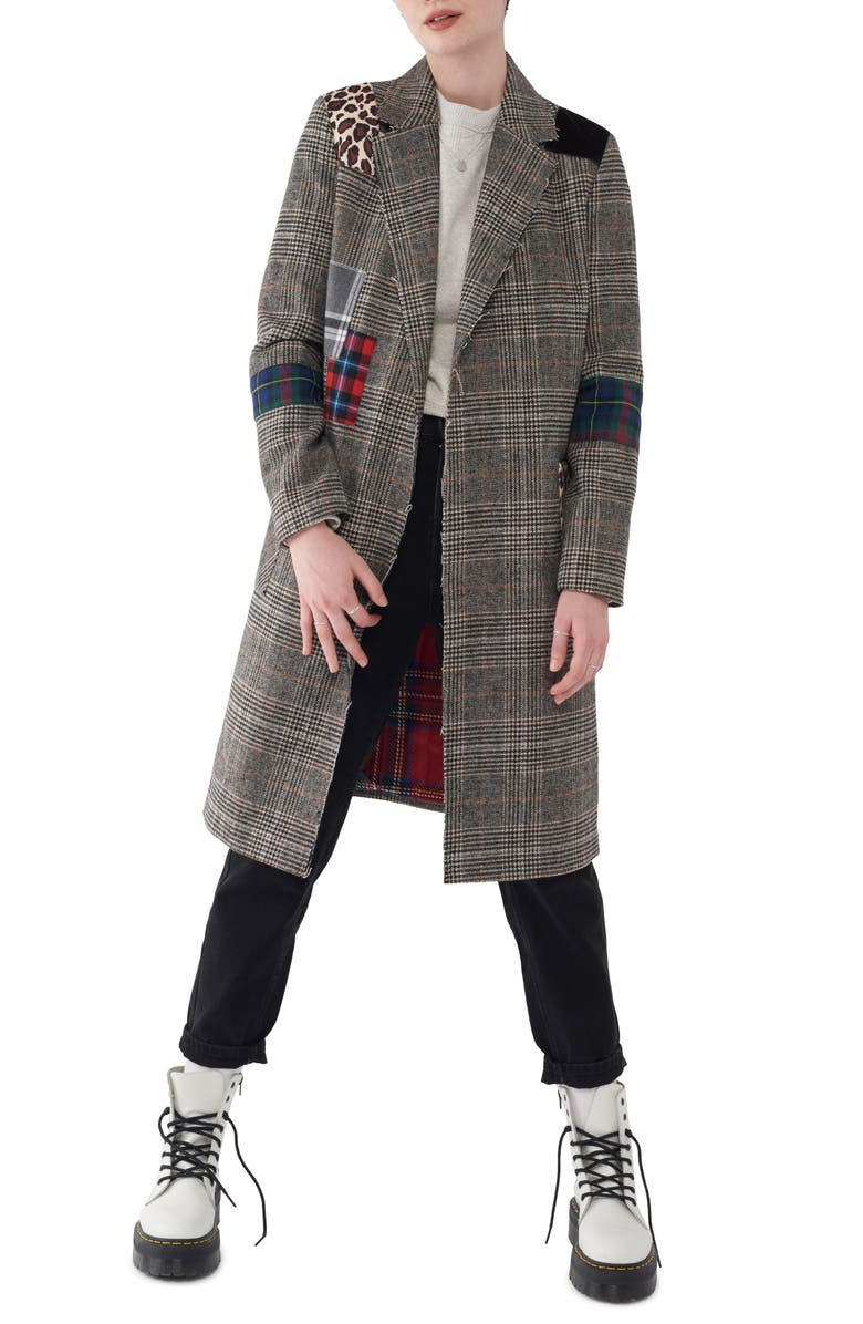 NVLT Patchwork Plaid Coat, Main, color, BROWN PLAID