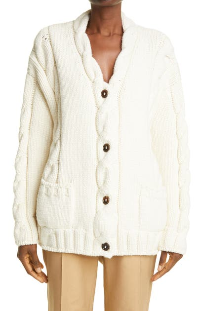DOLCE & GABBANA CABLE OVERSIZE WOOL BLEND CARDIGAN