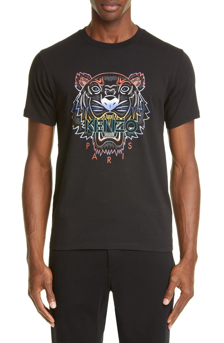 KENZO Gradient Tiger Graphic T-Shirt, Main, color, BLACK