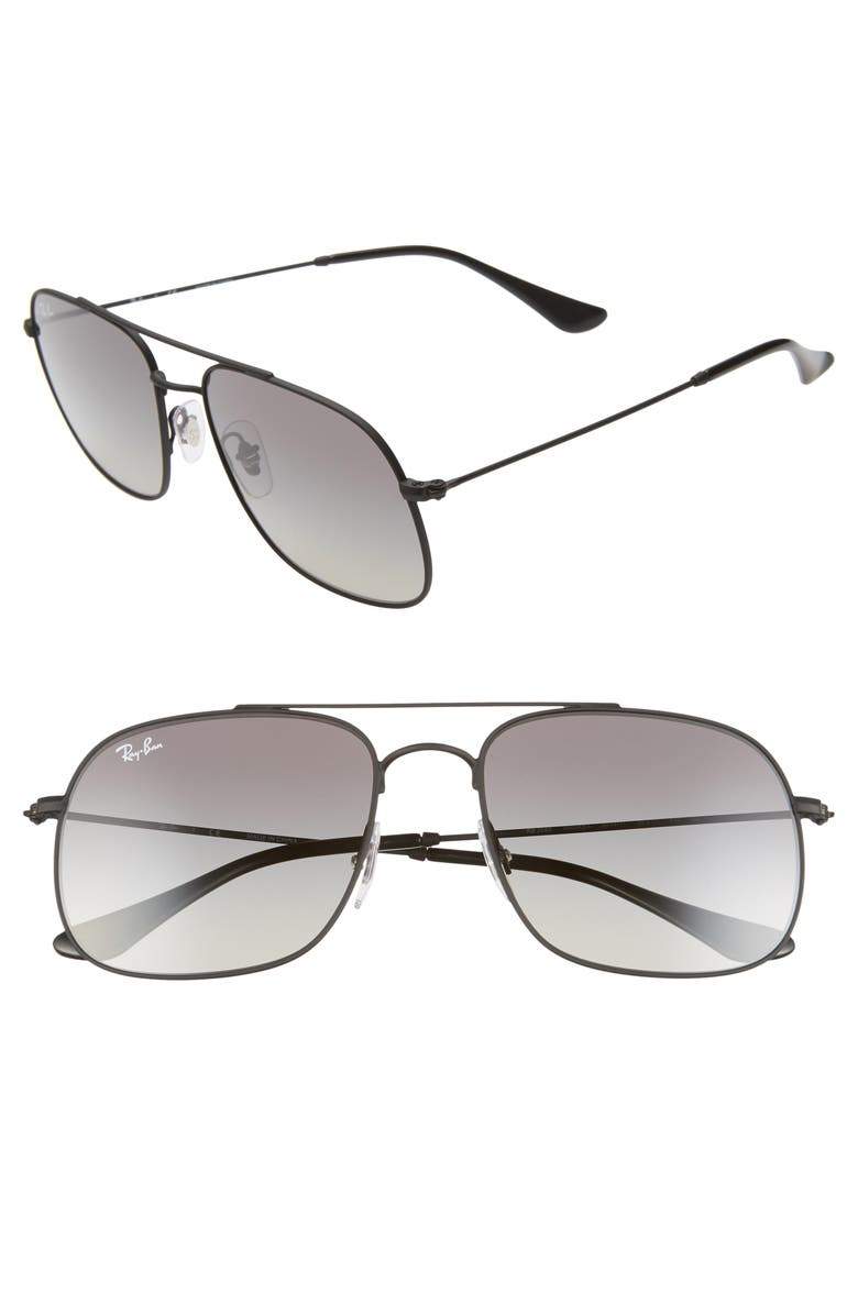 RAY-BAN 56mm Gradient Square Sunglasses, Main, color, RUBBER BLACK/ BLACK GRADIENT