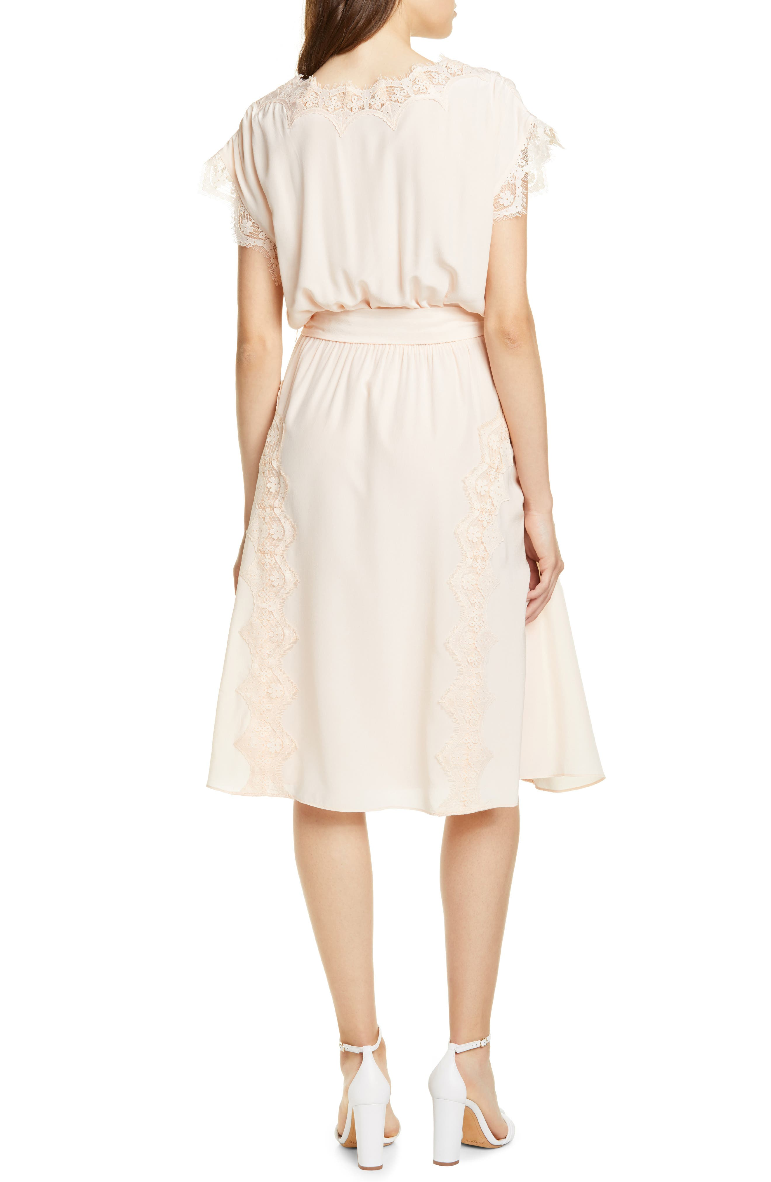 Joie Magdelen Lace Detail Short Sleeve Silk Dress, Orange