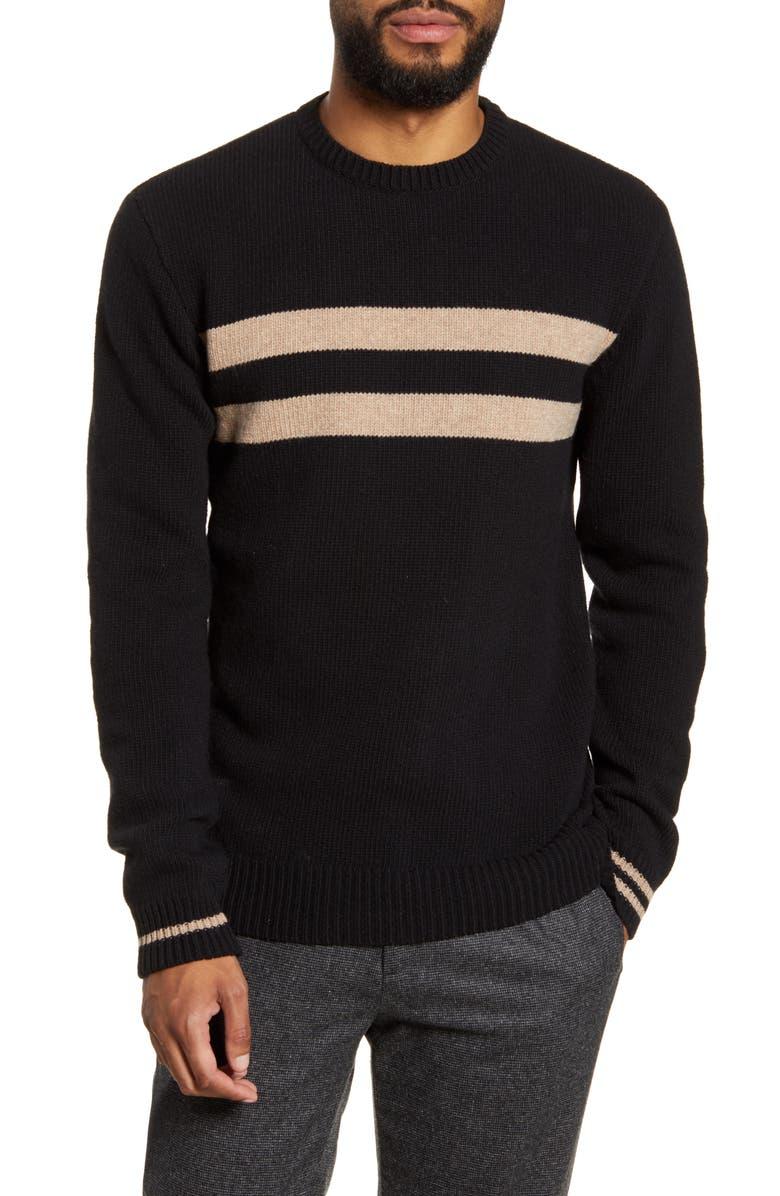OLIVER SPENCER Blenheim Double Stripe Slim Fit Crewneck Wool Sweater, Main, color, 002