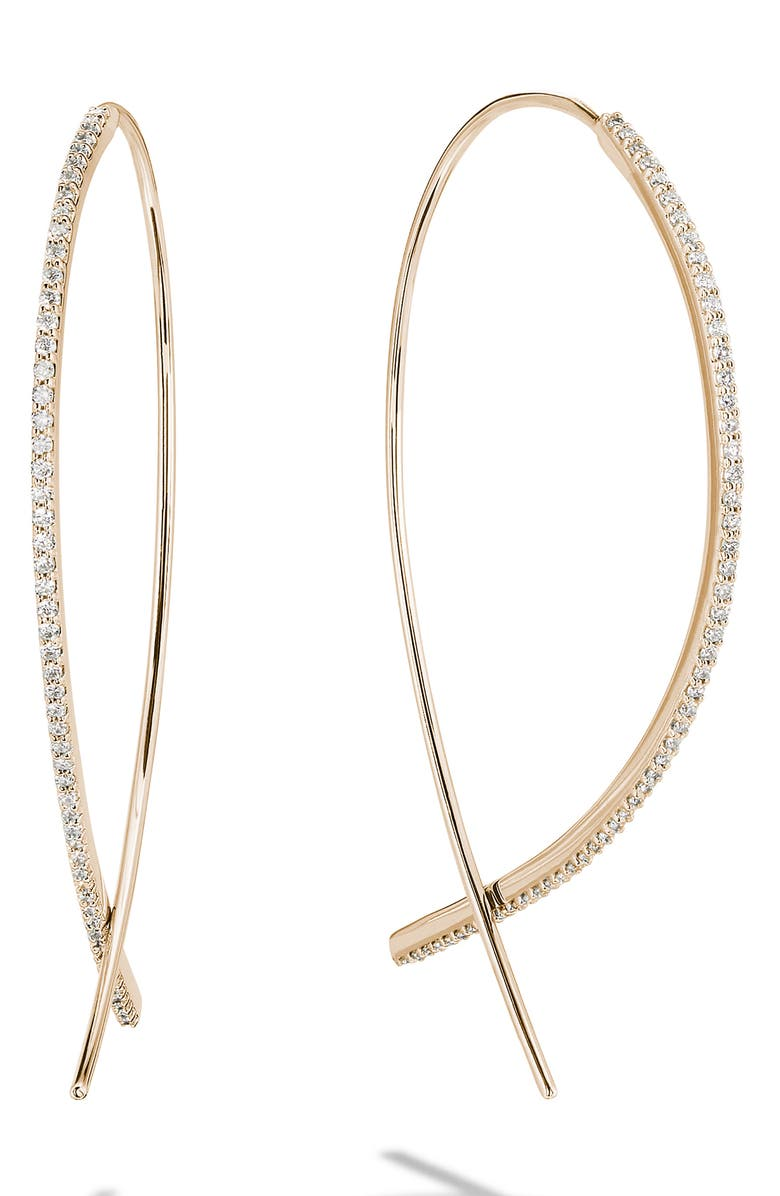 LANA JEWELRY Small Upside Down Flawless Diamond Hoop Earrings, Main, color, YELLOW GOLD/ DIAMOND