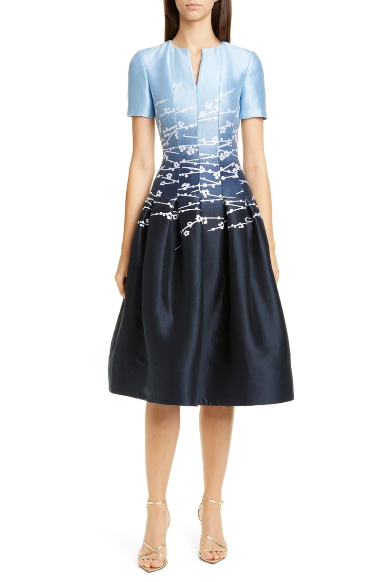 OSCAR DE LA RENTA Jacquard Ombré A-Line Dress, Main, color, INDIGO