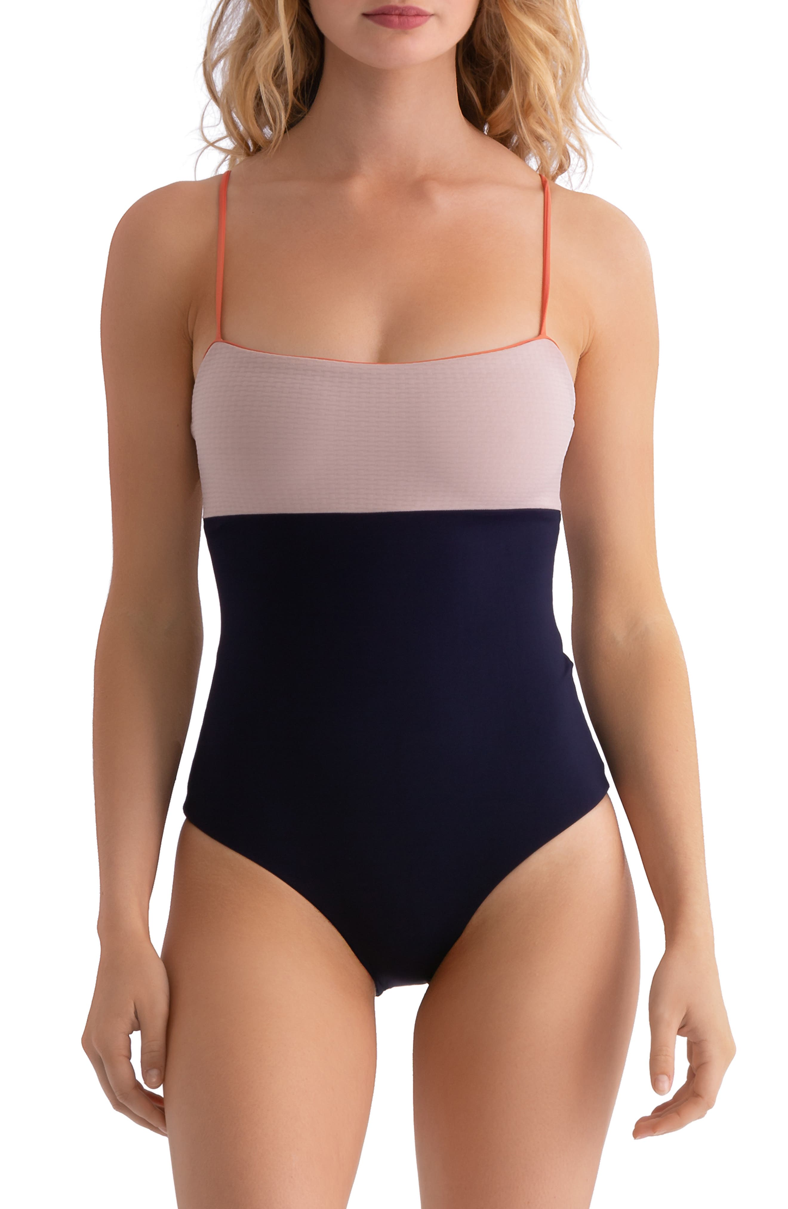 ,                             Scarlett Colorblock One-Piece Swimsuit,                             Main thumbnail 1, color,                             CLAY/ EVENING BLUE