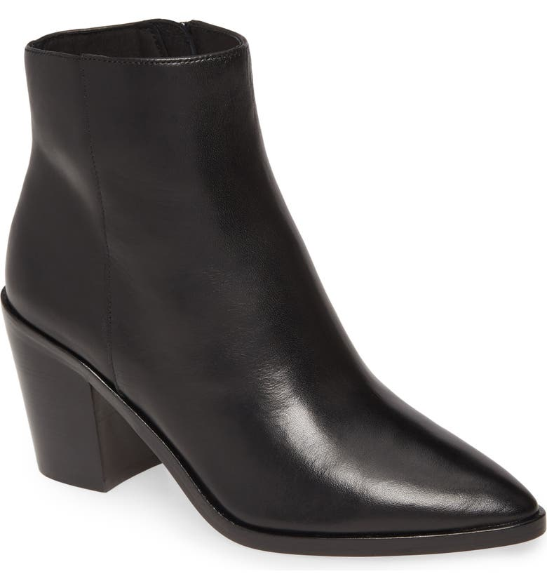 HALOGEN<SUP>®</SUP> Blake Block Heel Bootie, Main, color, BLACK LEATHER