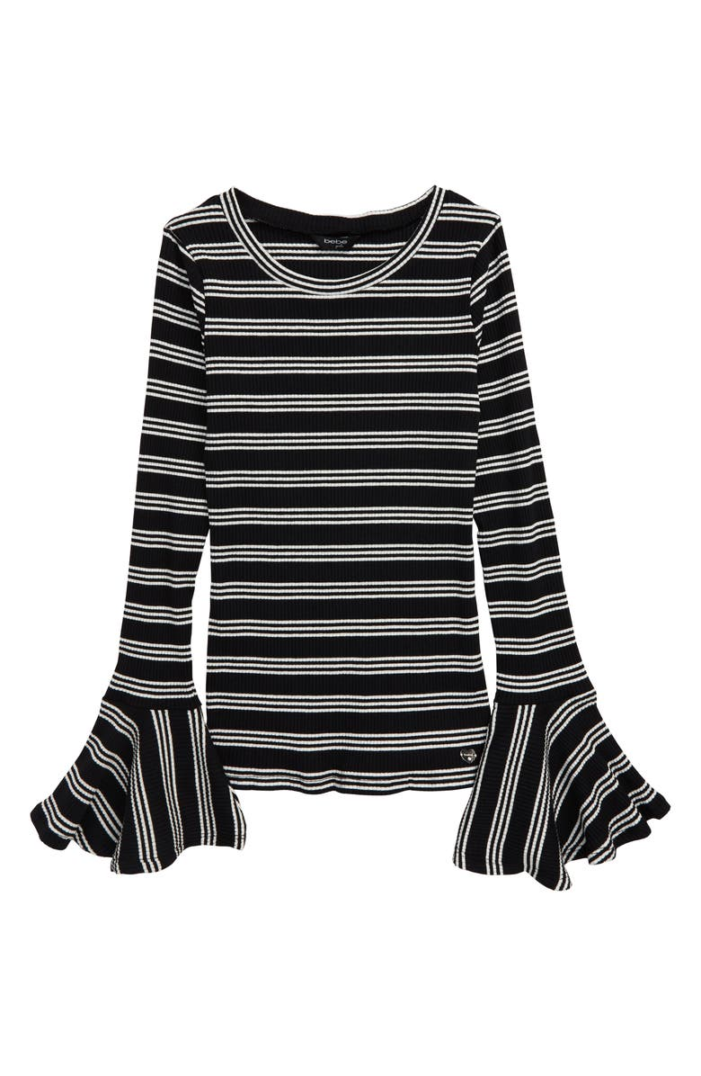 BEBE Stripe Rib Long Sleeve Top, Main, color, BLACK
