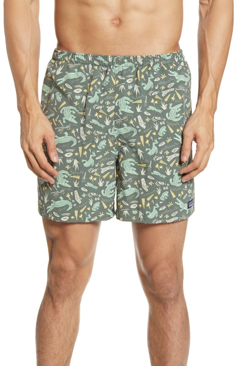 PATAGONIA Baggies 5-Inch Swim Trunks, Main, color, ALLIGATORS/ GREEN