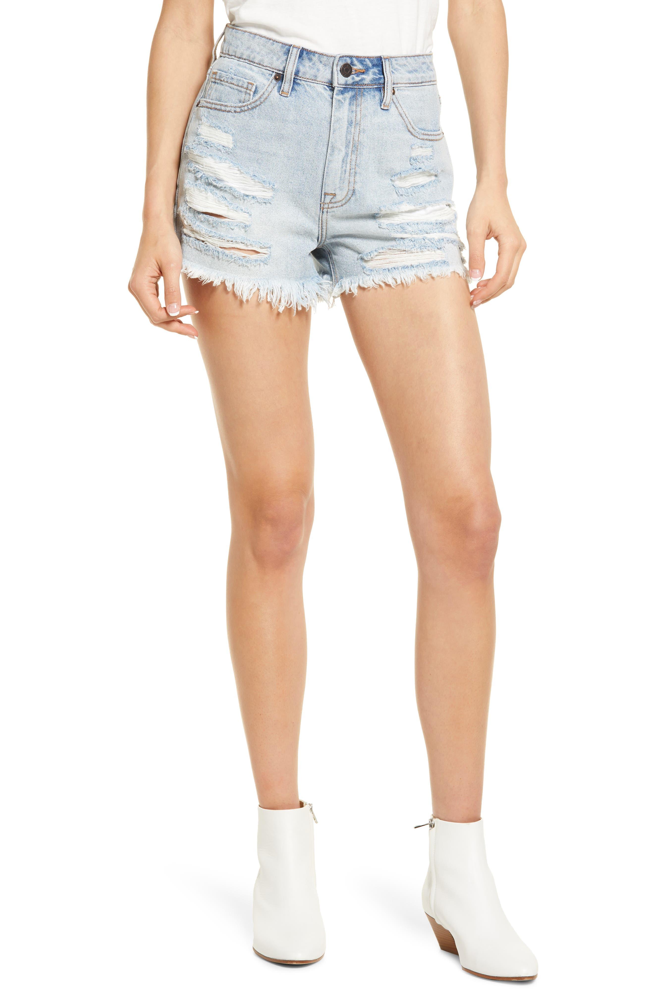 Nonstretch Distressed High Waist Denim Cutoff Shorts