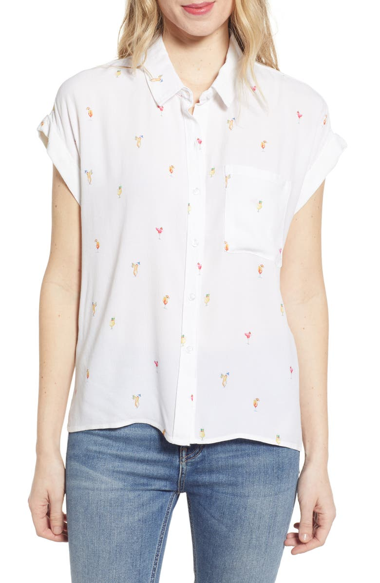 RAILS Whitney Print Shirt, Main, color, IVORY COCKTAIL HOUR