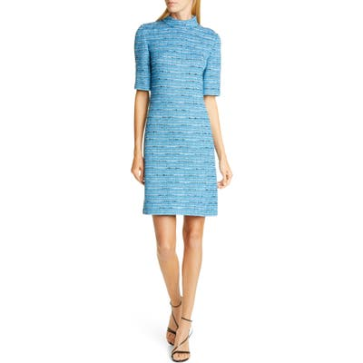 St. John Collection Artisanal Space Dye Stripe Knit Dress, Blue