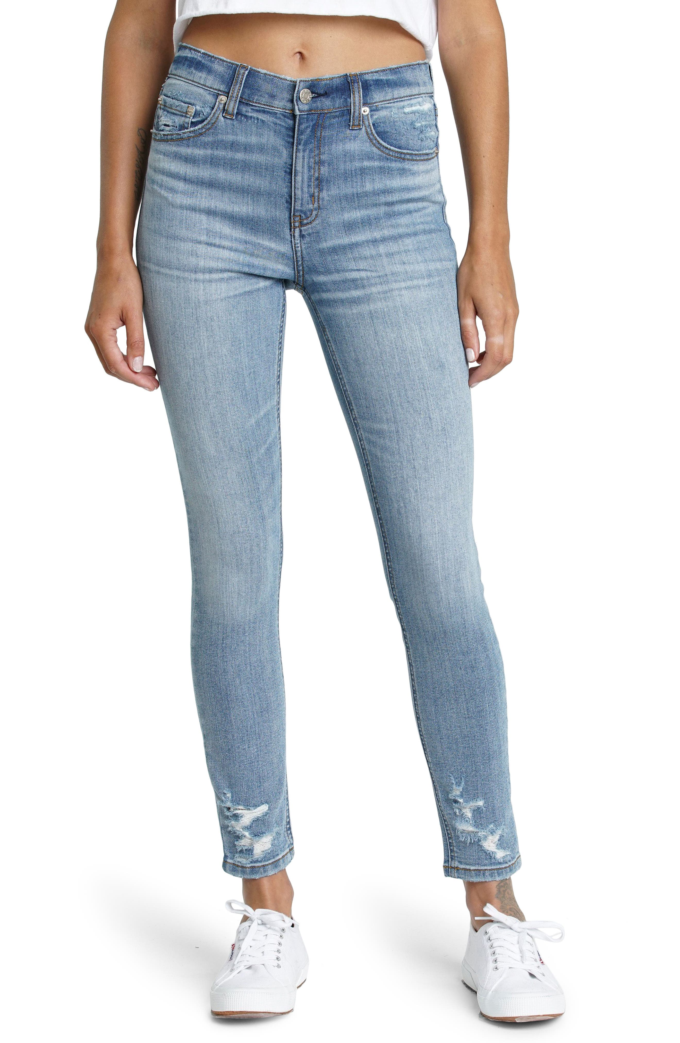 Call You Back Distressed High Waist Ankle Skinny Jeans