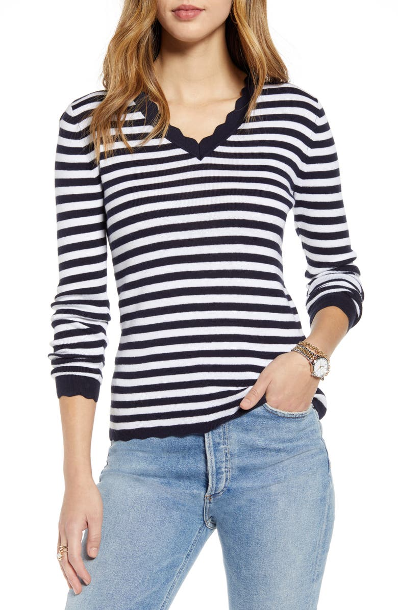 1901 Scallop Trim V-Neck Sweater, Main, color, NAVY- WHITE STRIPE