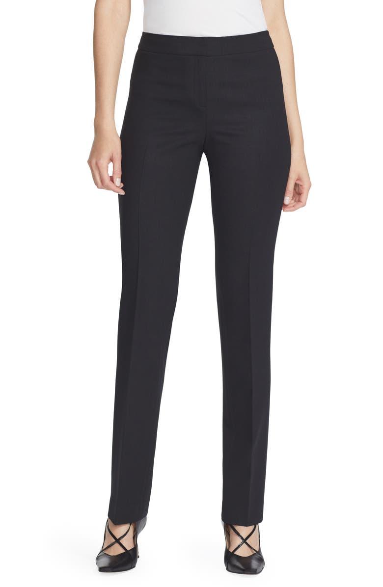 LAFAYETTE 148 NEW YORK Barrow Stretch Wool Pants, Main, color, BLACK