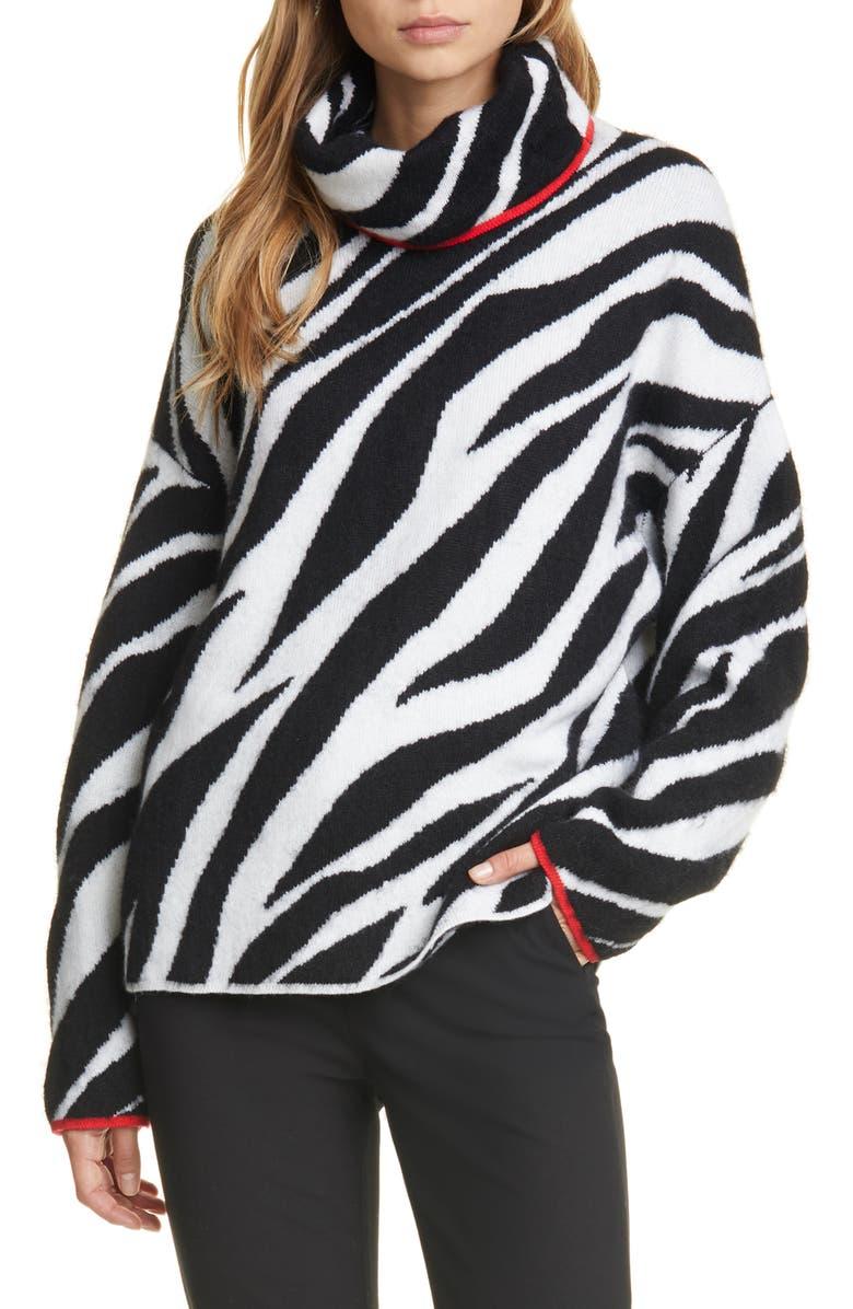 RAG & BONE Kiki Zebra Jacquard Sweater, Main, color, BLACK/ WHITE