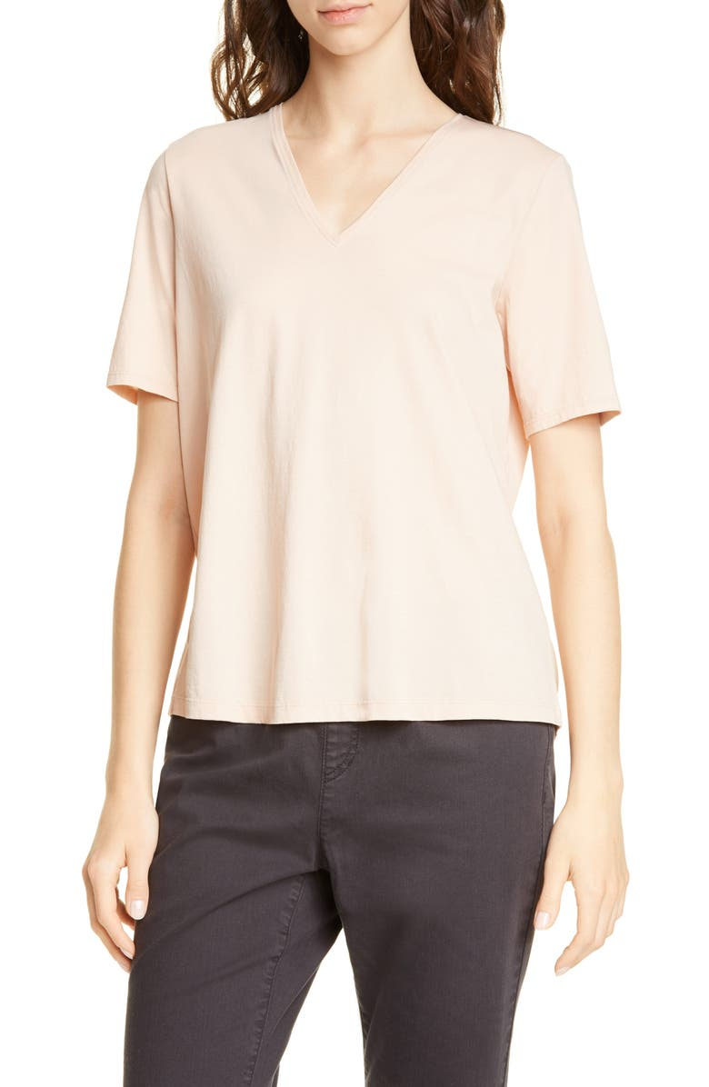 EILEEN FISHER V-Neck Organic Cotton Tee, Main, color, DUNE