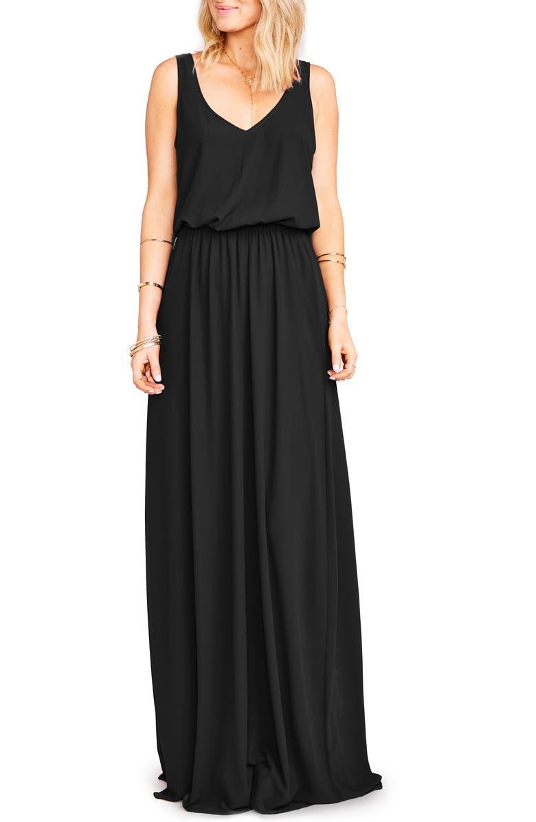 SHOW ME YOUR MUMU Kendall Soft V-Back A-Line Gown, Main, color, BLACK CHIFFON