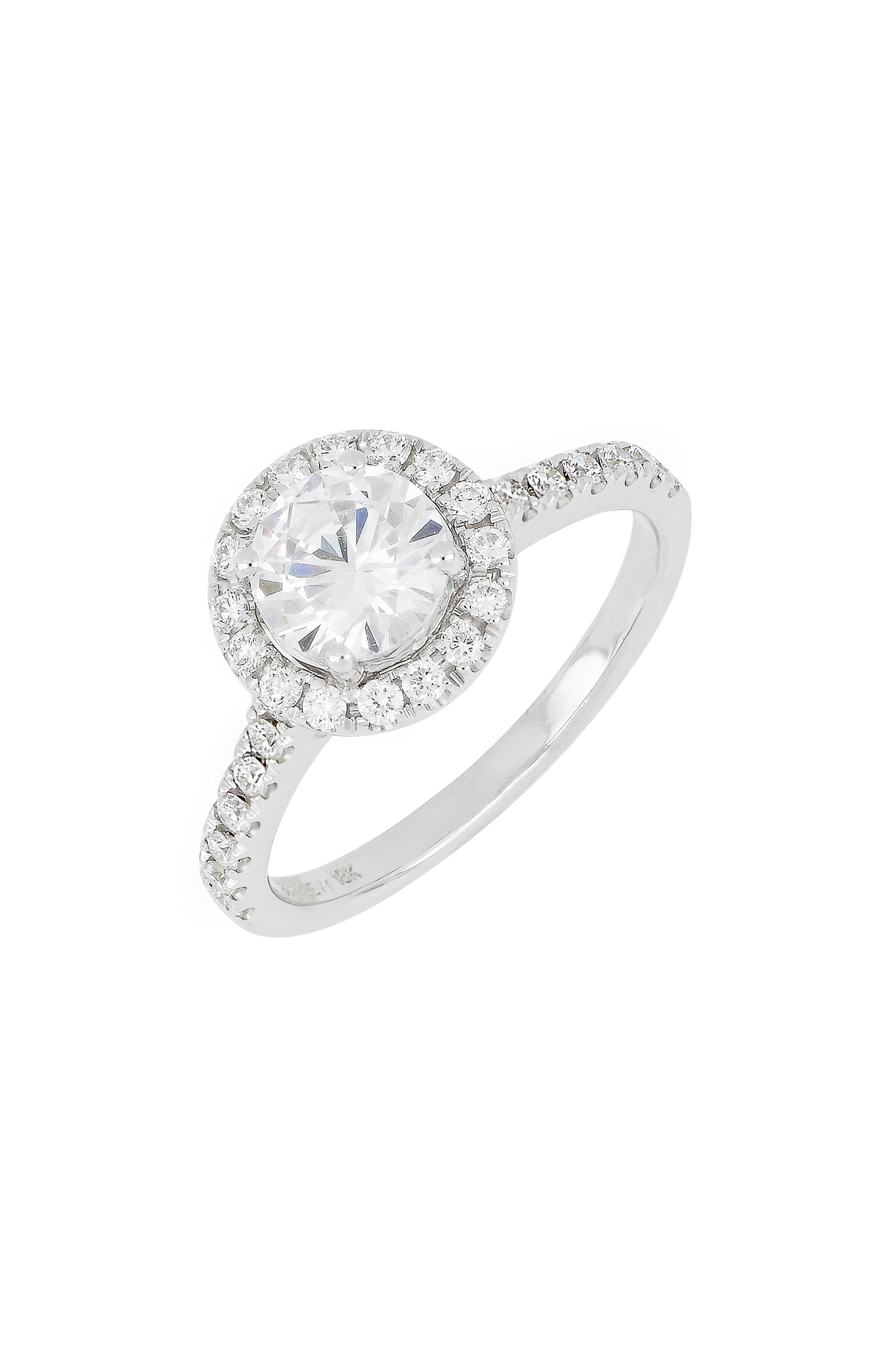 Pave Diamond Halo Round Engagement Ring Setting (Nordstrom Exclusive)