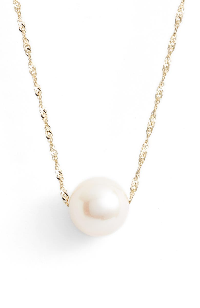 POPPY FINCH Solitaire Cultured Pearl Pendant Necklace, Main, color, YELLOW GOLD/ WHITE PEARL