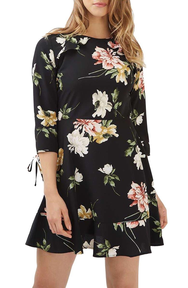 TOPSHOP Ruffle Floral Tea Dress, Main, color, 001