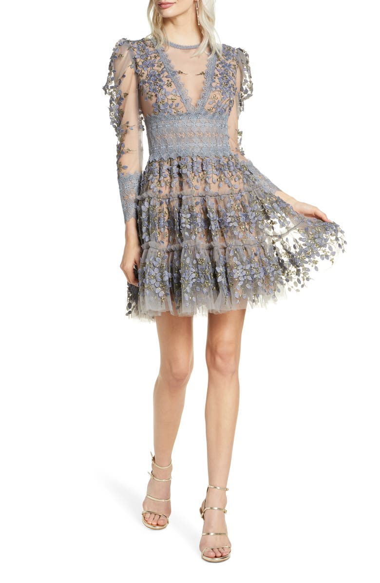 BRONX AND BANCO Megan Long Sleeve Grey Floral Lace Minidress, Main, color, 020