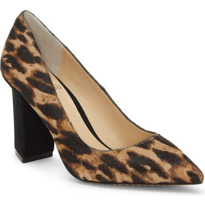 Vince Camuto Candera Pointed Toe Genuine Calf Hair Pump- Black