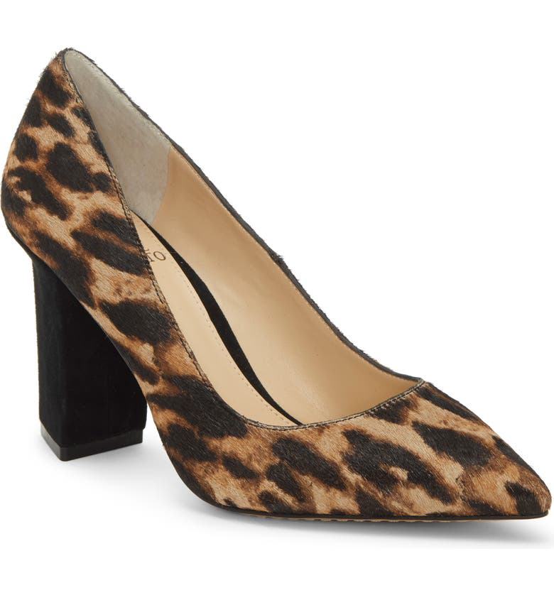 VINCE CAMUTO Candera Pointed Toe Genuine Calf Hair Pump, Main, color, NATURAL/ BLACK LEATHER