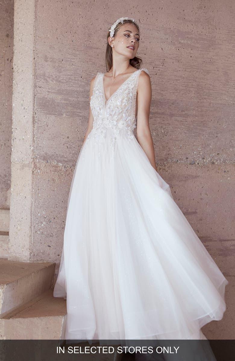 WATTERS Barbi Embellished Lace & Tulle Wedding Dress, Main, color, PORCELAIN PINK