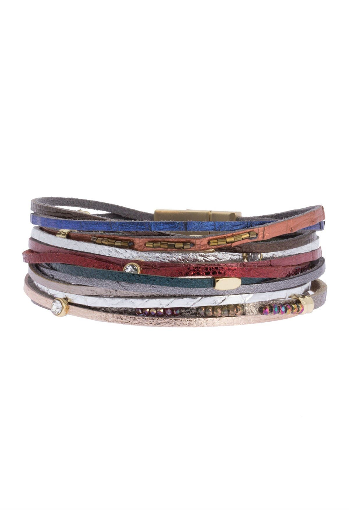Image of Saachi Easy Breezy Rhinetsone Accented Leather Multi Strand Bracelet