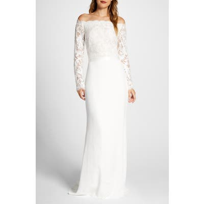 Tadashi Shoji Lace & Crepe Long Sleeve Wedding Dress, Ivory